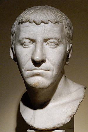 """Gnaeus Domitius Corbulo - The so-called """"Pseudo-Corbulo"""", once thought to be the portrait of Gnaeus Domitius Corbulo, actually a portrait of an unknown personality of the 1st century BC. Parian marble. (Centrale Montemartini, Rome)"""