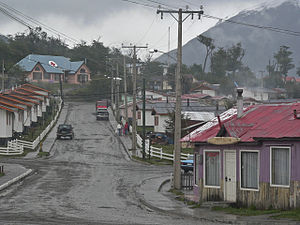 Puerto Williams - Puerto Williams street, showing Naval Hospital in  background
