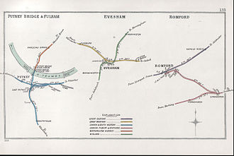 Evesham railway station - A 1904 Railway Clearing House Junction Diagram showing (centre) railways in the Evesham area. The present station is that on the yellow line, marked G.W.