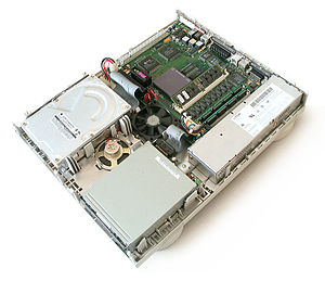 Macintosh Quadra 605 - Inside a Quadra 605 case.
