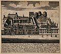 Queen's College, Oxford; bird's eye view and printed text. L Wellcome V0014152.jpg