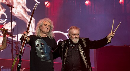 The two remaining members of Queen's classic line-up, May and Taylor (pictured in 2017), were creative consultants for Bohemian Rhapsody Queen And Adam Lambert - The O2 - Tuesday 12th December 2017 QueenO2121217-80 (26092172118).jpg