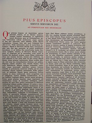 Quo primum - Text of the 1570 bull Quo primum tempore of Pope St. Pius V reproduced in a 1956 Roman Missal.