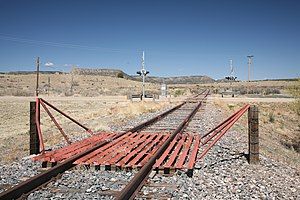 Cattle grid - Cattle guard on a railway line in northeastern New Mexico.
