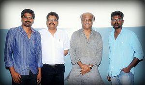 Kochadaiiyaan - Rajinikanth with K. S. Ravikumar and two of the Kochadaiiyaan directorial team members.
