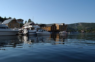 Rissa, Norway - View of the harbour at Råkvåg