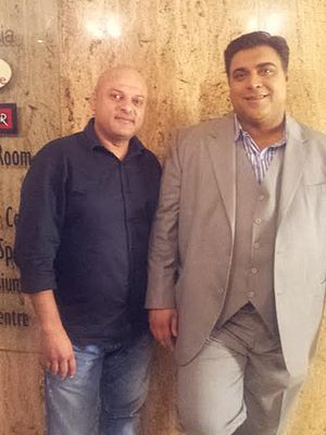 Ram Kapoor - Ram Kapoor with Deepak Bhanushali on the Shoot of Bade Achhe Lagte Hain on Once More Studios location