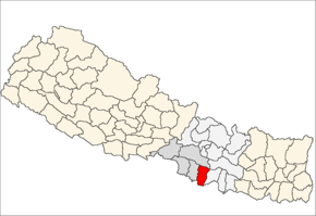 Rautahat District i Narayani Zone (grå) i Central Development Region (grå + lysegrå)