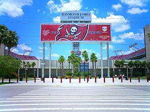 Main entrance to Raymond James Stadium in Tampa, Florida