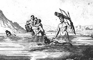 St. Johns culture - The people of the St. Johns culture, such as these Timucuans pictured in 1562 by Jacques Le Moyne, obtained much of their food from the water.