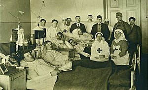 Battle of Kämärä - Reds wounded in Kämärä in a Vyborg hospital. The patient lying down at the back is Jukka Rahja