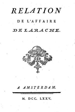 Larache expedition - Relation de l'affaire de Larache, by Bidé de Maurville, 1775.