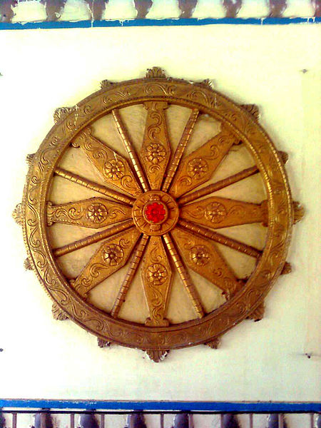 File:Replica of Konark wheel at Simhachalam Buscomplex Vizag.jpg