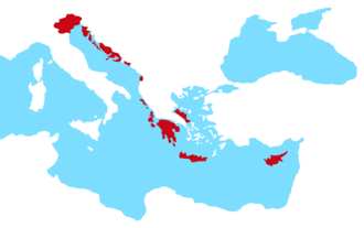 The Republic of Venice and its colonial empire Stato da Mar. Republic of Venice - Blank map of the main territories.png