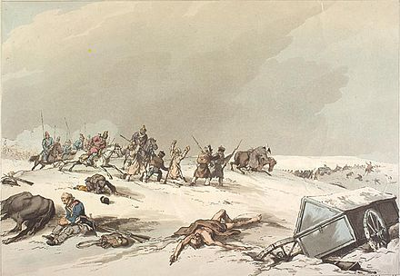 Much of the fighting at Krasnoi consisted of Cossacks capturing French stragglers. Retreat of Napoleon Army from Moscow 1812.jpg