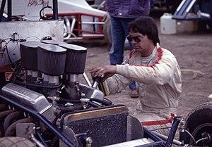 Rich Vogler - Vogler works on his sprint car in 1986