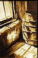 Ritók Lajos parasztház belső, hordó diópác akvarell akvarell 01.jpg