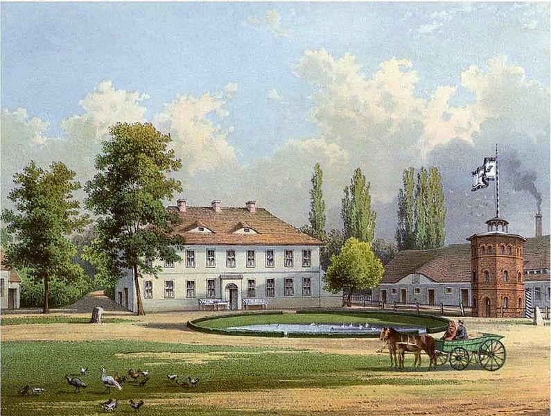 Manor Zellendorf (Brandenburg) approx. 1860. Artist Alexander Duncker.