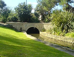 River Bourne, Dorset - The River Bourne as it flows through Bournemouth Gardens
