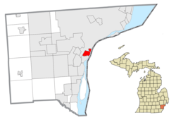 Location within Wayne County