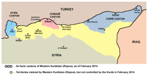 Constitution of Rojava - Areas controlled and claimed by Syrian Kurds and allies (Feb. 2014).