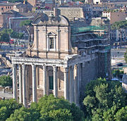 Temple of Antoninus and Faustina in the Roman forum (now the church of San Lorenzo in Miranda). The emperor and his Augusta were deified after their death by Marcus Aurelius.