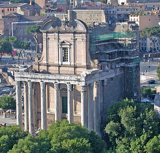 Antoninus Pius - The temple of Antoninus and Faustina in the Roman Forum (now the church of San Lorenzo in Miranda). The emperor and his Augusta were deified after their death by Marcus Aurelius.