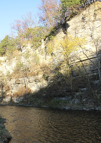 Geology of Minnesota - Limestone bluffs cut by the Root River in Olmsted County