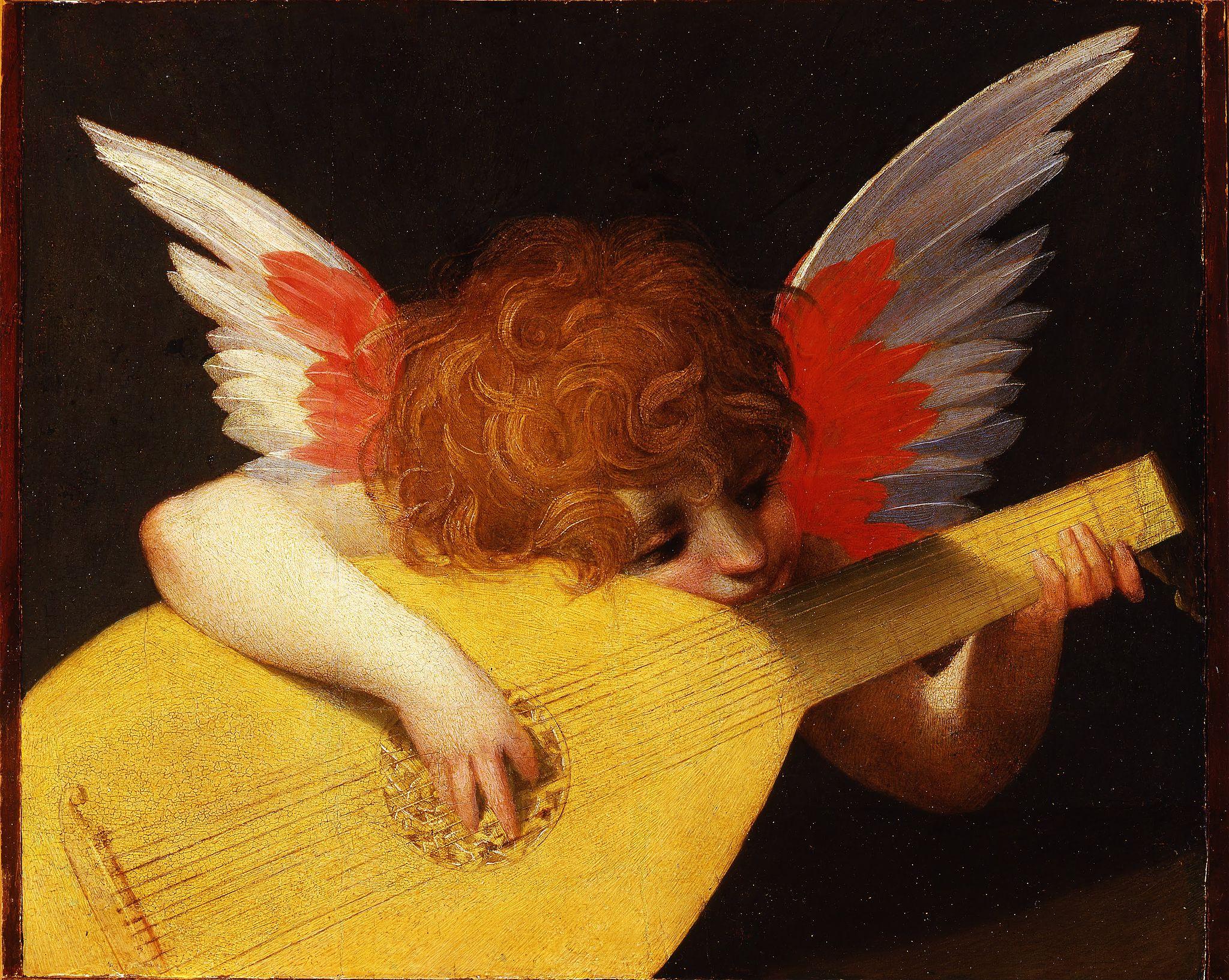 Rosso Fiorentino (1494–1540), Putto che suona, 1518, olio su tavola, 172 cm x 141 cm, Uffizi, Firenze