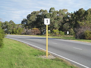 Highway 1 (Western Australia) - Route 1 sign on Stock Road, Coolbellup