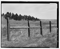 Route 5, boundary fence near Highland Trail. View E. - Wind Cave Roads and Bridges, Hot Springs, Fall River County, SD HAER SD-55-33.tif