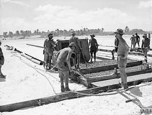Operation Grapple - Royal Engineers construct the airfield runway