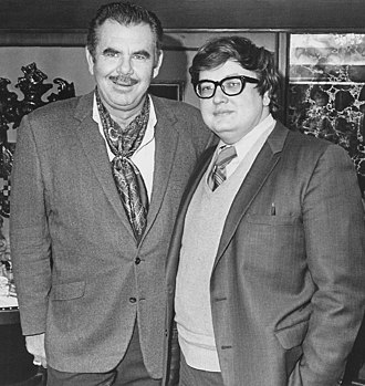 Film criticism - Chicago critic Roger Ebert (R) with director Russ Meyer.