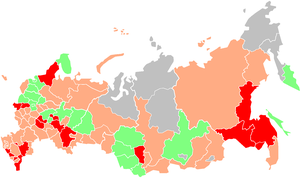 Human rights in Russia - Media freedom across the Russian Federation, 2006 Green: Fairly free   Orange: Not very free   Red: unfree   Grey: No data. Free regions were not found.  Source: Glasnost Defense Foundation