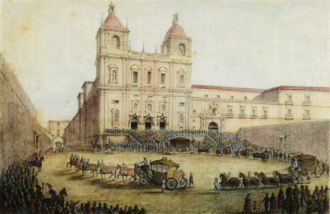 Arrival of the funeral procession of Maria II to the Monastery of Sao Vicente de Fora. Sao Vicente de Fora (versao colorida de gravura de 1854, Manuel Maria Bordalo Pinheiro).png