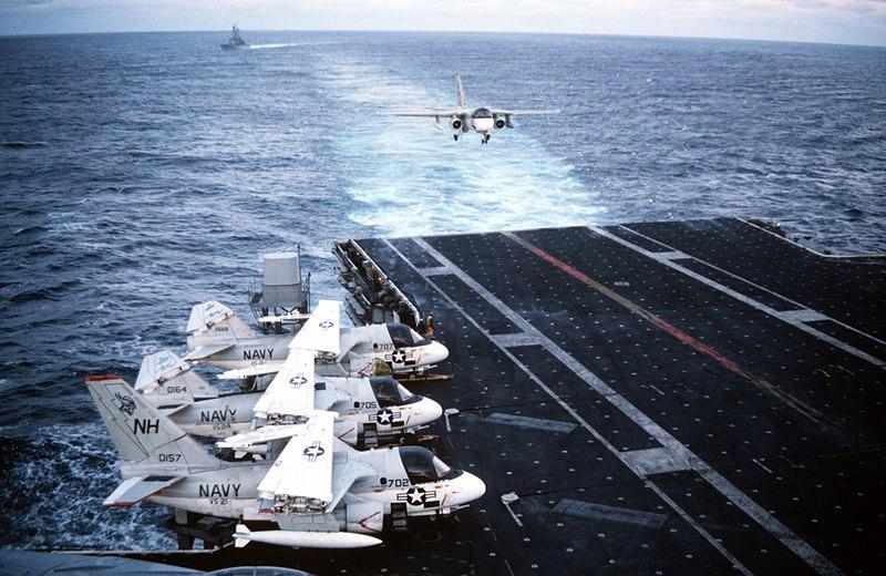File:S-3A of VS-21 landing on USS Enterprise (CVN-65) 1988.JPEG