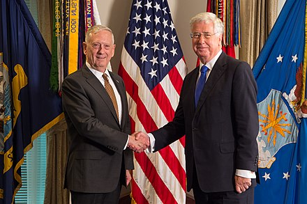 Fallon with U.S. Secretary of Defense James Mattis, July 2017 SD meets with UK's Secretary of State for Defence 170707-D-SV709-176 (35392759950).jpg