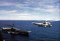SH-3G of HC-1 flies near USS Hancock (CV-19) 1975.jpg