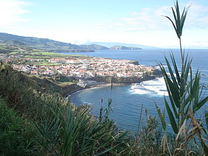 Maia (Ribeira Grande) - The coastal village of Maia, as seen from the hilltop belvedere