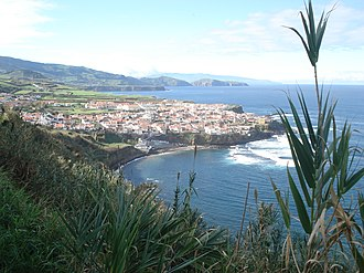 Maia (Ribeira Grande) - The coastal village of Maia, as seen from the hilltop belvedere
