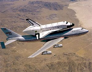 Space Shuttle Challenger - Challenger being transported by Shuttle Carrier Aircraft 901, shortly before being delivered in 1982