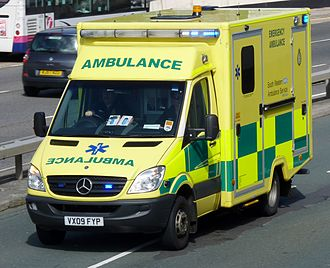 Emergency medical services in the United Kingdom - A Mercedes-Benz Sprinter ambulance of the South Western Ambulance Service responds to an emergency call