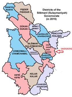 Districts of the Sulaymaniyah Governorate, with Saidsadiq indicated