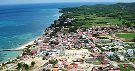 An aerial view of the commune of Saint-Louis, on Marie-Galante