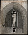 Saint Faith, under a canopy; crucifixion scene below her. Wellcome V0031950.jpg