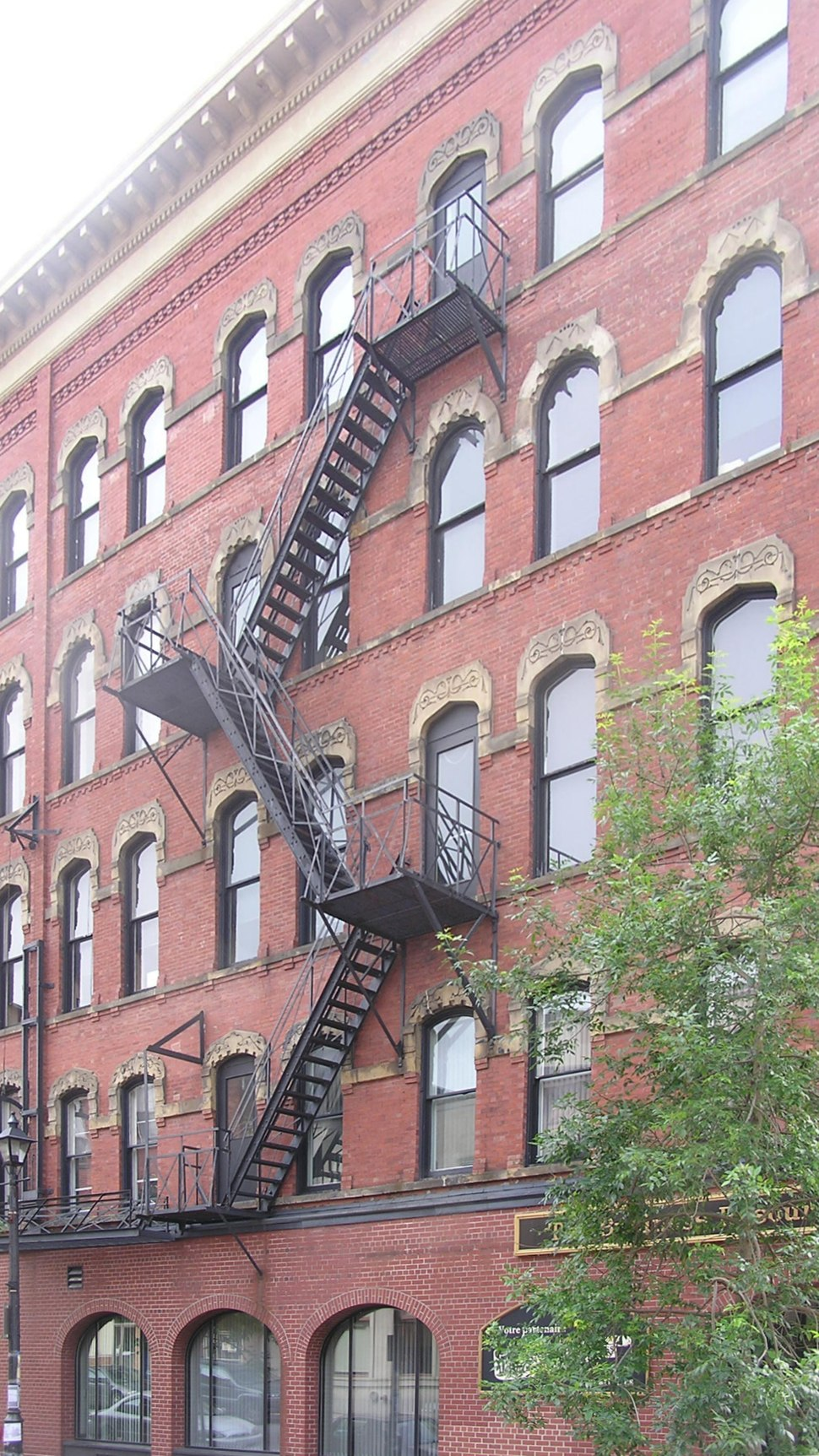 Saint John, NB, historical building with iron staircase, Germain and King Sts.