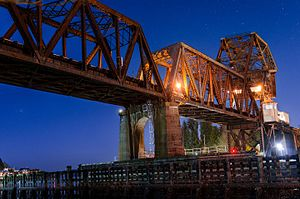 Salmon Bay Bridge - Image: Salmon Bay Bridge At Night