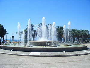 English: The fountain at the town end of Salou...
