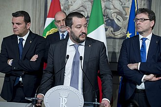 Matteo Salvini - Salvini with League's delegation at the Quirinal Palace in April 2018