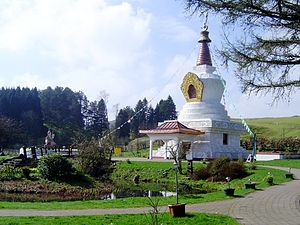 Buddhism in Scotland - The main stupa at Samyé Ling monastery in Scotland